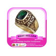 Green Square Gems Gold Plated High School Football Championship Ring
