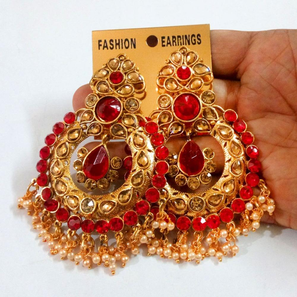 Red Color Rhinestone Traditional Dangle Earrings