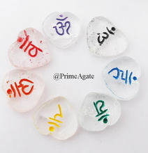 Beautiful Wholesale Crystal Quartz Colorful Chakra Sanskrit Heart Set | Chakra Crystal Set from india