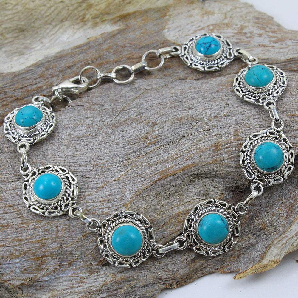Desire beauty turquoise gemstone 925 sterling silver bracelet jewelry wholesale handmade gemstone silver jewelry