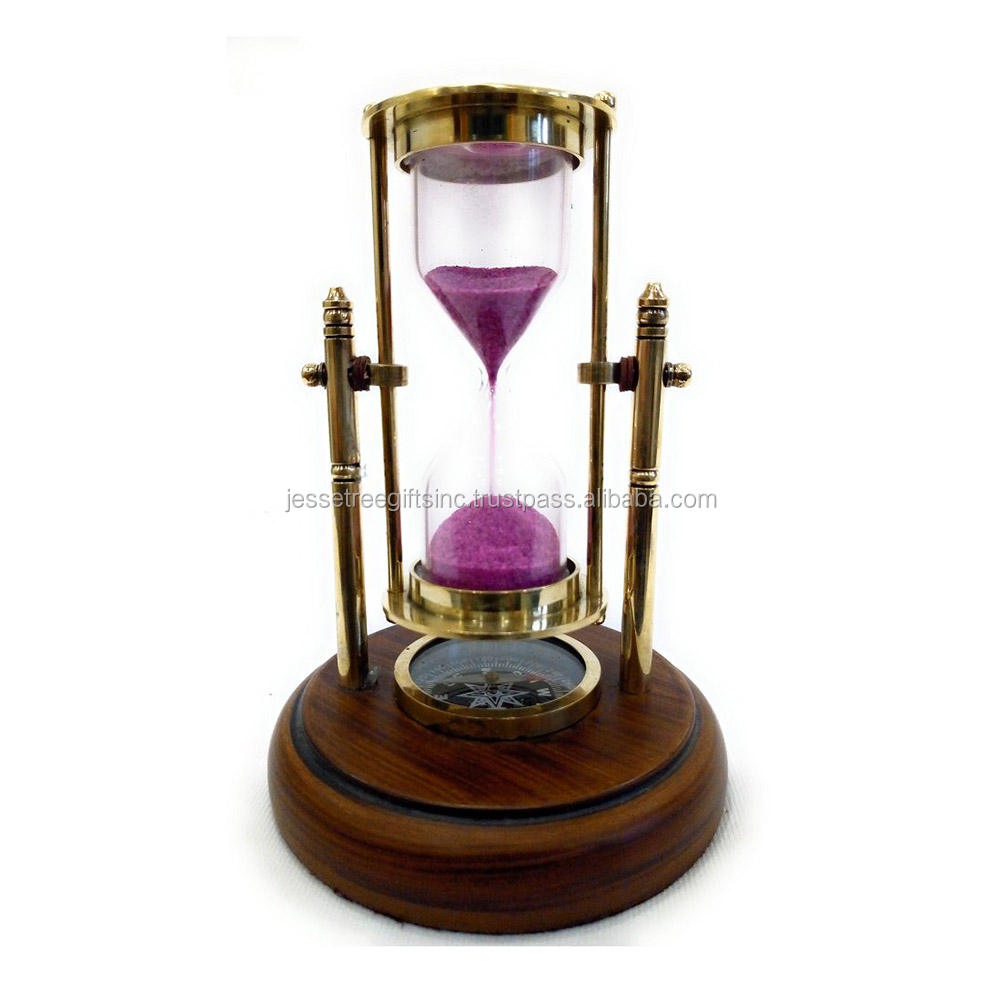 Antique Brass Sand Timer With Compass On Wooden Base - Showpiece For Home - Office - Gift - Hour Glass - Sand Glass - Sand Clock