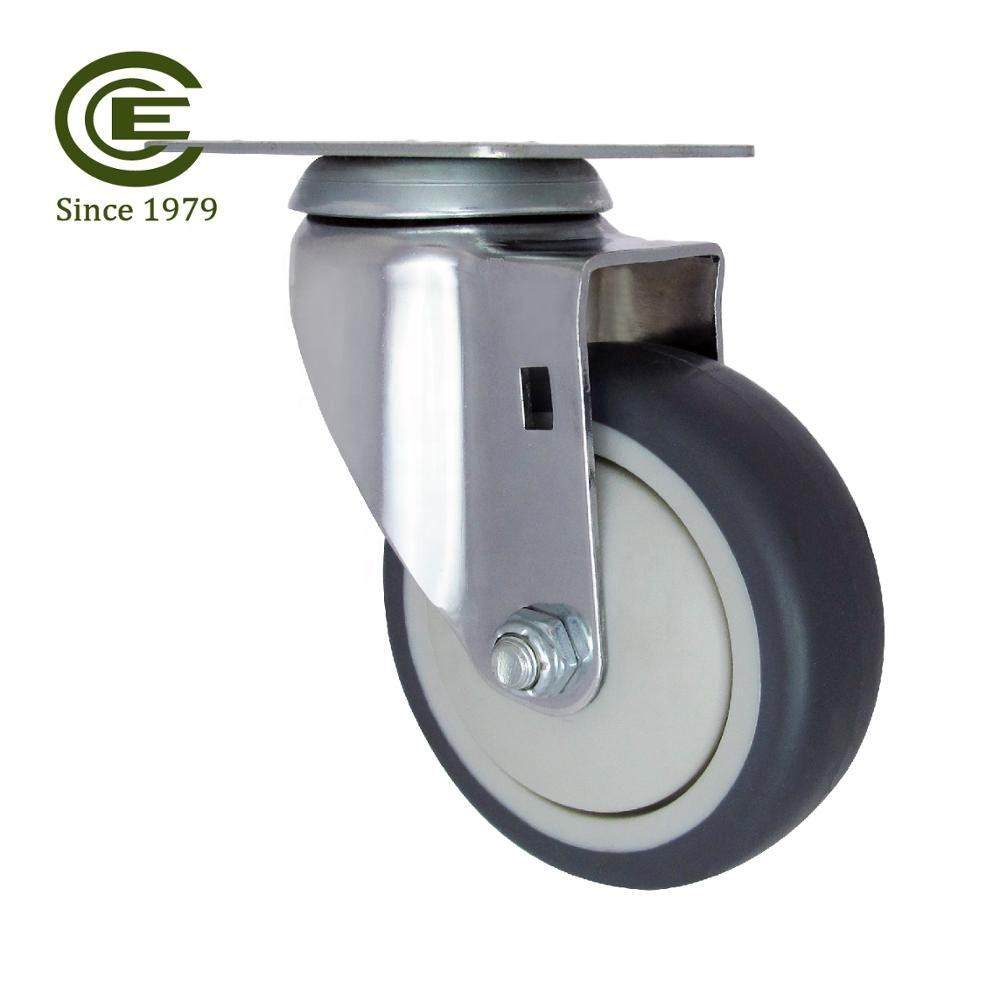"CCE Caster 4"" Hard Rubber Swivel Caster Wheels 360 Degree Top Plate with Brake"