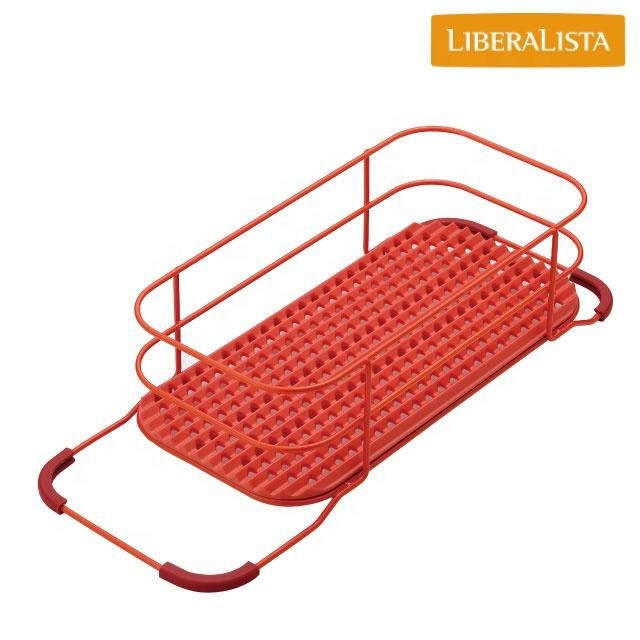 Multifunctional and Durable red sink rack with multiple functions made by Japan