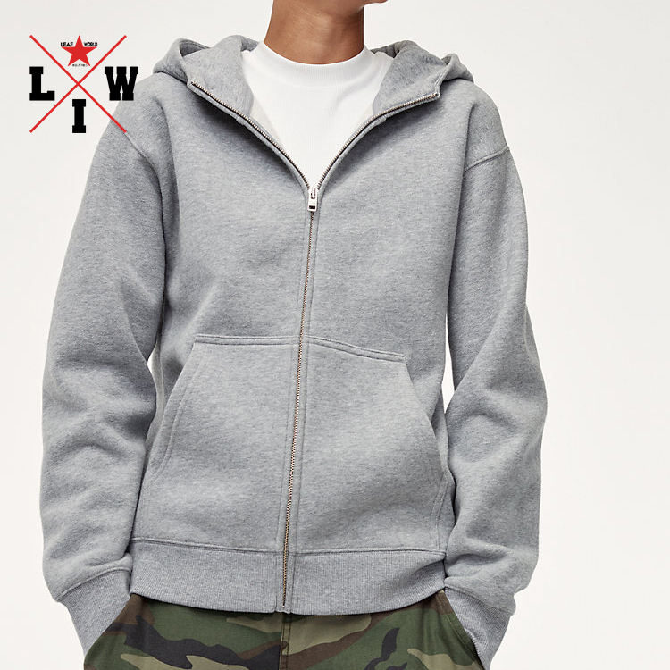 Wholesale factory price fleece cotton hoodie mens zip up hoodie grey hooded winter coat for man