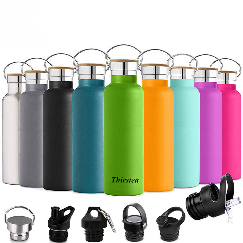 2021 Popular Stainless steel Vacuum flask sport water bottle with bamboo lid