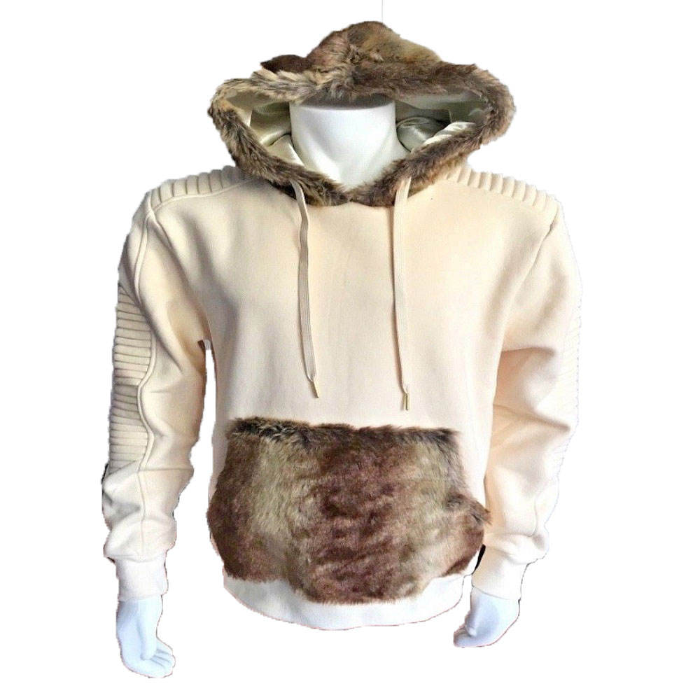 PIH-1021 Wholesale Custom Fleece Cotton Basic Plain Printing Pullover Hoodies With Fake Fur Hoodie and pockets