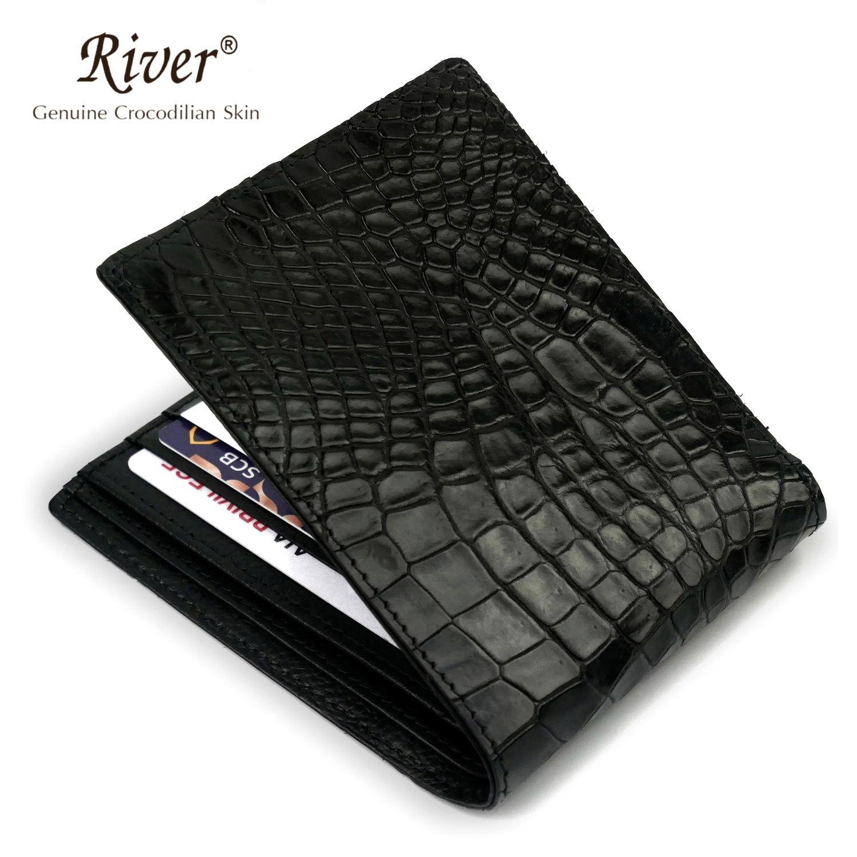 PELGIO Genuine Crocodile Alligator Belly Skin Leather Slim Passport Holder Wallet