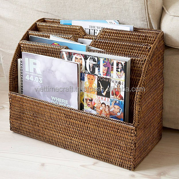 Brown rattan letter holder
