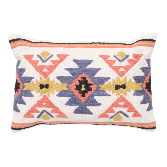 Embroidered Multicolored Cotton Pillow Cover Case , Jaipur Fabric Cotton Embroidery Indian Cushion Cover Manufacturer