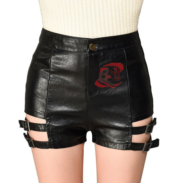 Dropshipping Lace Up High Waisted PU Leer Sexy Shorts Vrouwen 2019 Trendy Rood Zwart Korte Hot Pants