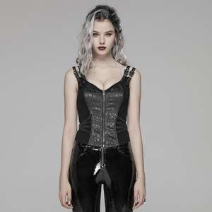 Punk Rave Gothic Casual Vrouwen Zwarte Mouwloze Corset Top WY-1037