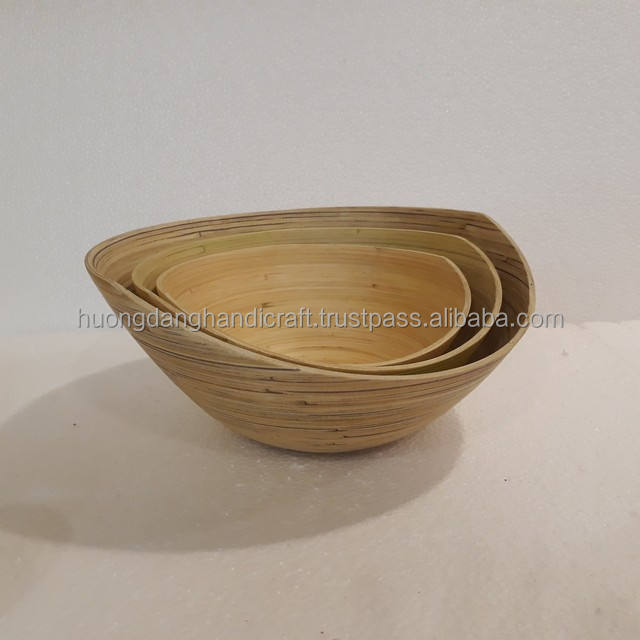Trully natural bamboo bowl, Natural color bamboo bowl with oval glosbe