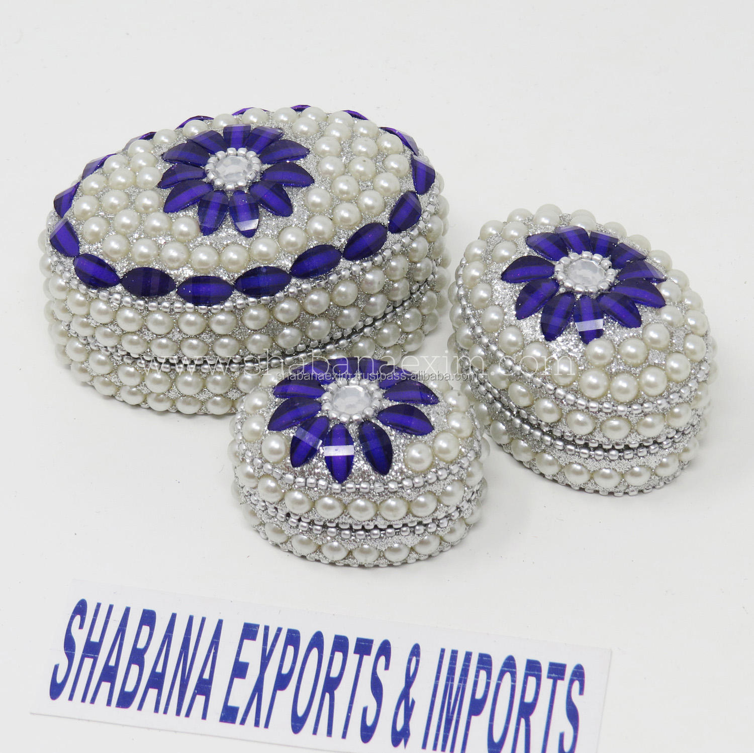 Jeweled Metal Trinket Box Decorative Wedding Round Box Wholesale Trinket Box