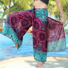 Mandala dashiki print BOHO harem wide legs pants gypsy yoga belly dance art fisherman skirt maxi Sarong Wrap tie pants