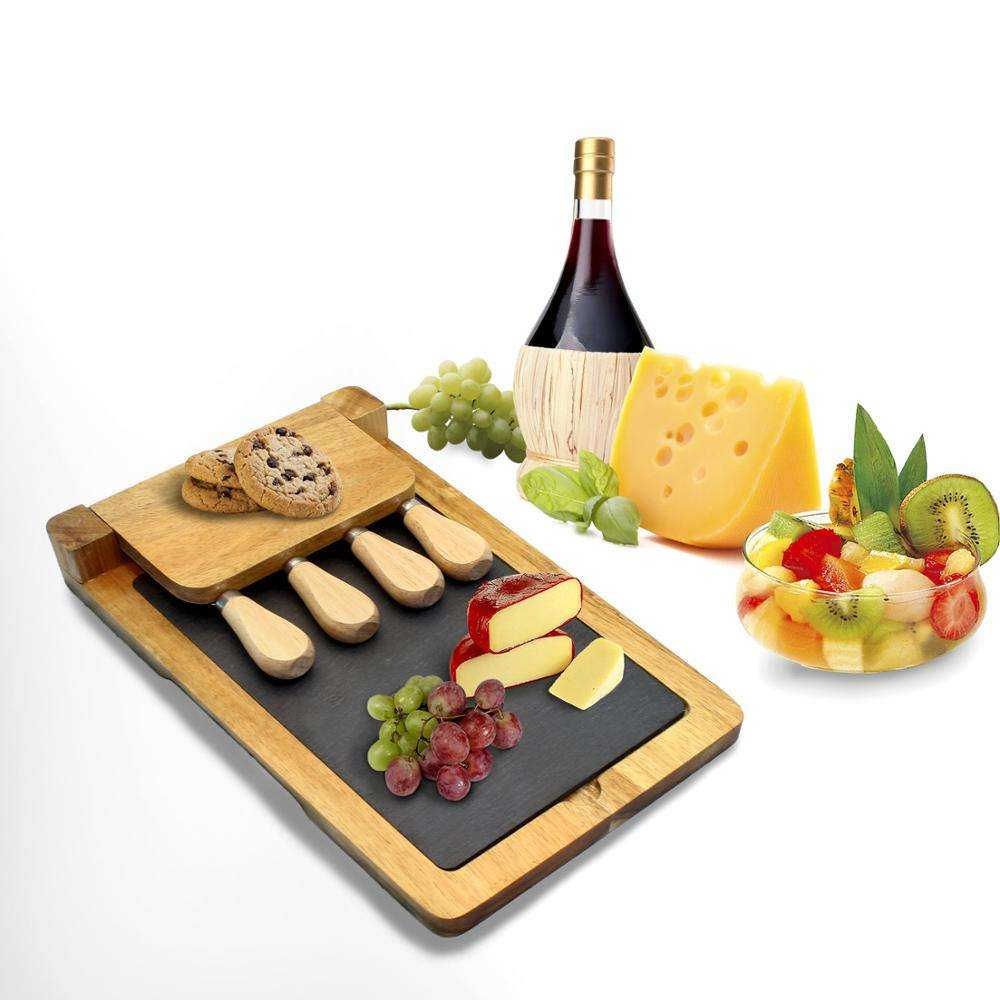 Acacia Wood Cheese Board Set with Removable Slate Cheese Board