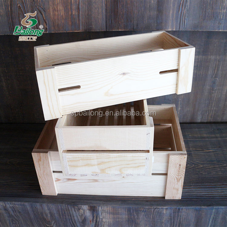 Verified supplier customized natural pine decorative set 3 wooden fruit vegetable crate wood box with lids
