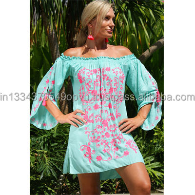 Comfortable Apparel Off Shoulder Bohemian Short Dress For Women Aari Embroidered Neon Color Beach Wear Cover Up Tunic For Girls