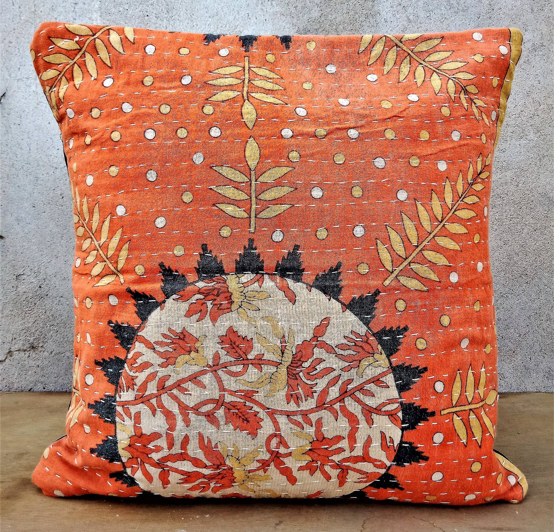 Wholesale recycled cotton reversible vintage kantha Quilt Cushion Cover