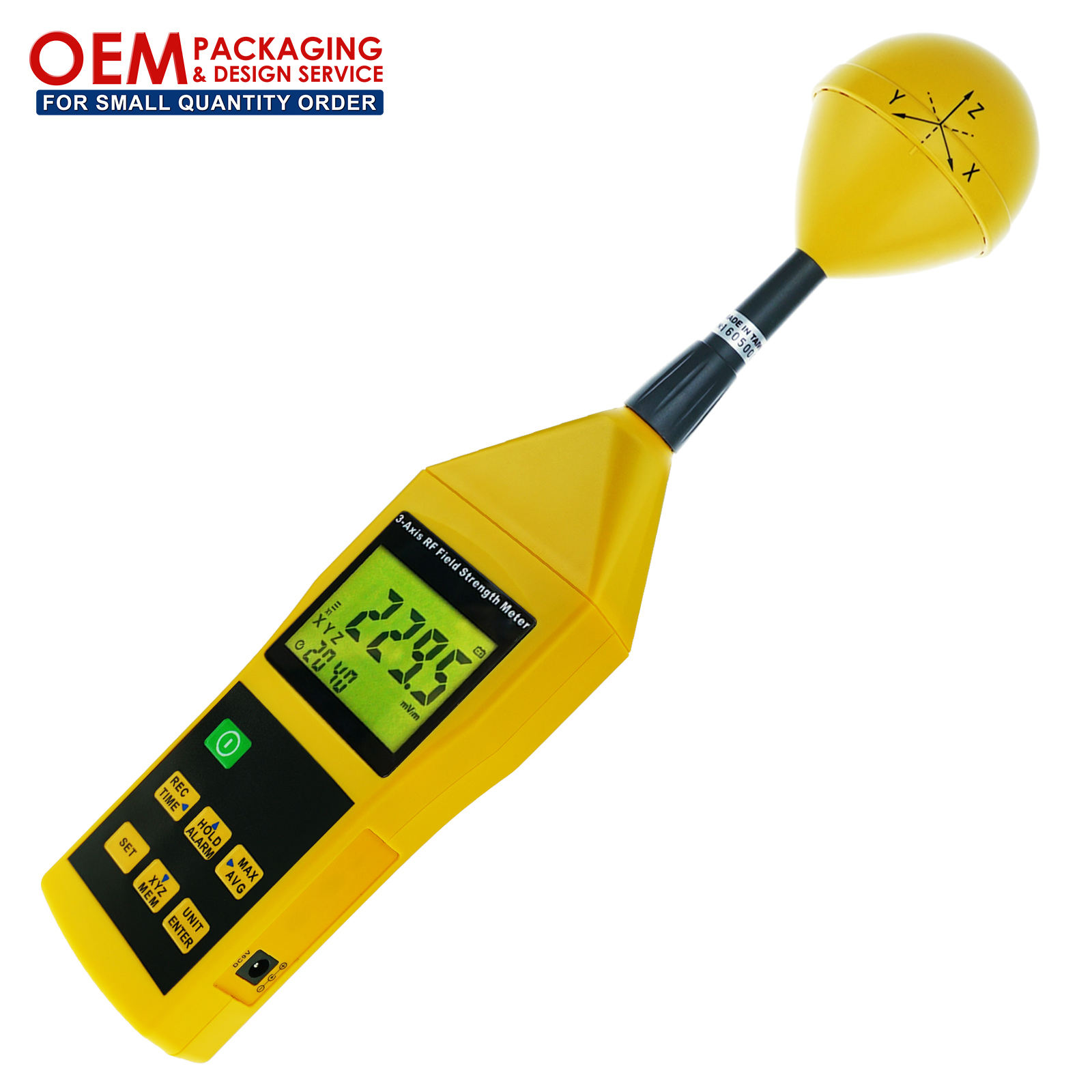 3-Axis RF Meter Electromagnetic Radiation Tester Detector 10MHz to 8GHz w/ Alarm and Tripod Mounting (OEM Packaging Available)