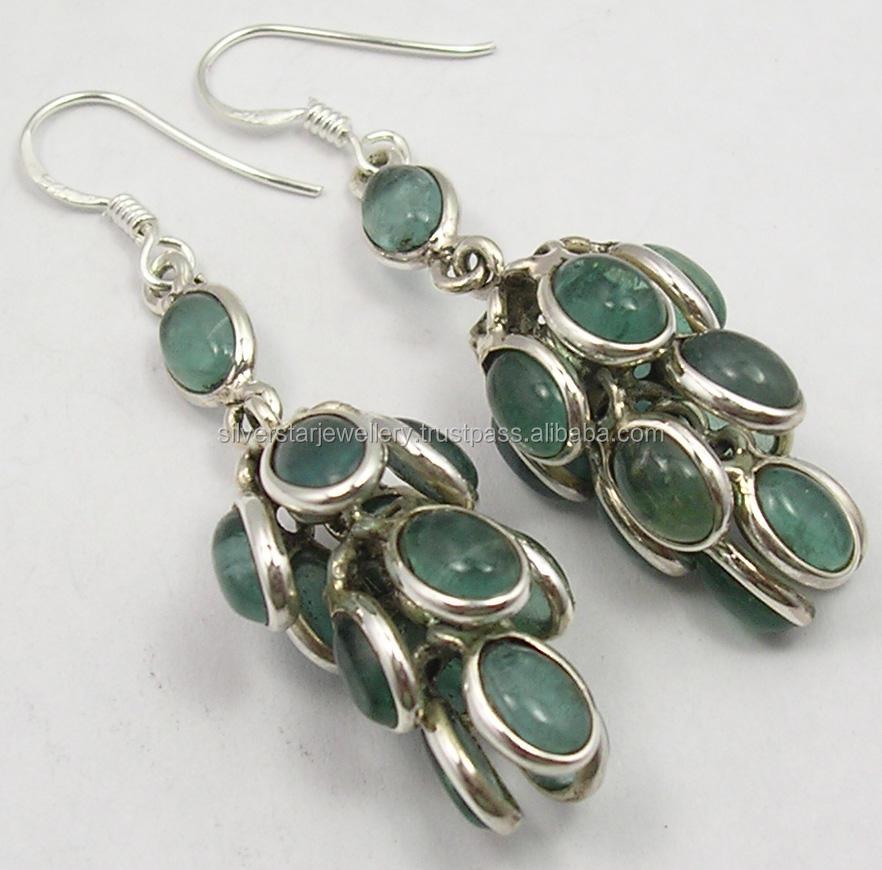Gemstone jewelry supplier exclusive sales designs 925 solid sterling silver cabochon oval green apatite dangle earrings