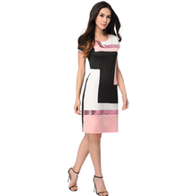 Women O-Neck Mini Sheath Bodycon Dress Lady Wear to Work Office Dress Elegant Summer Patchwork Sequin Dress