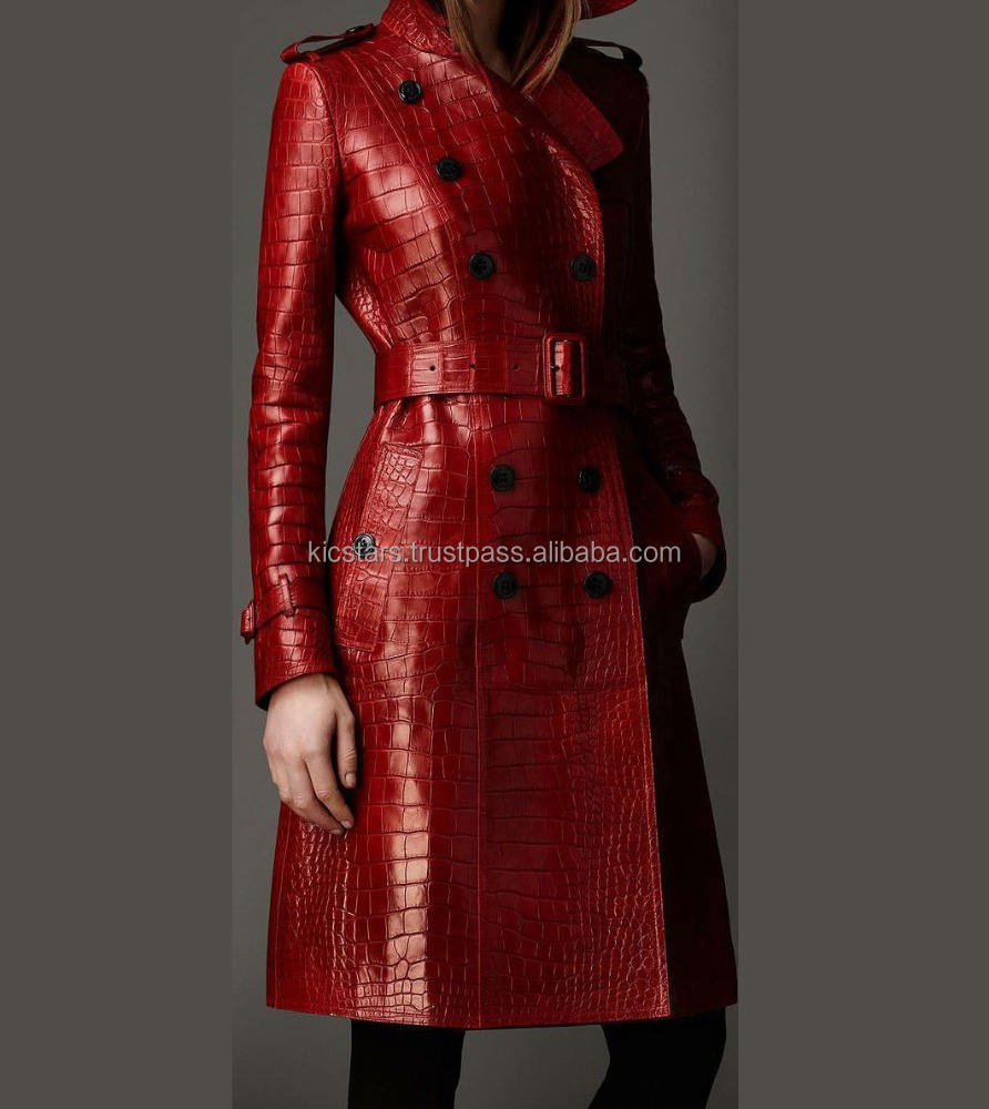 custom stylish women long trench coat in red