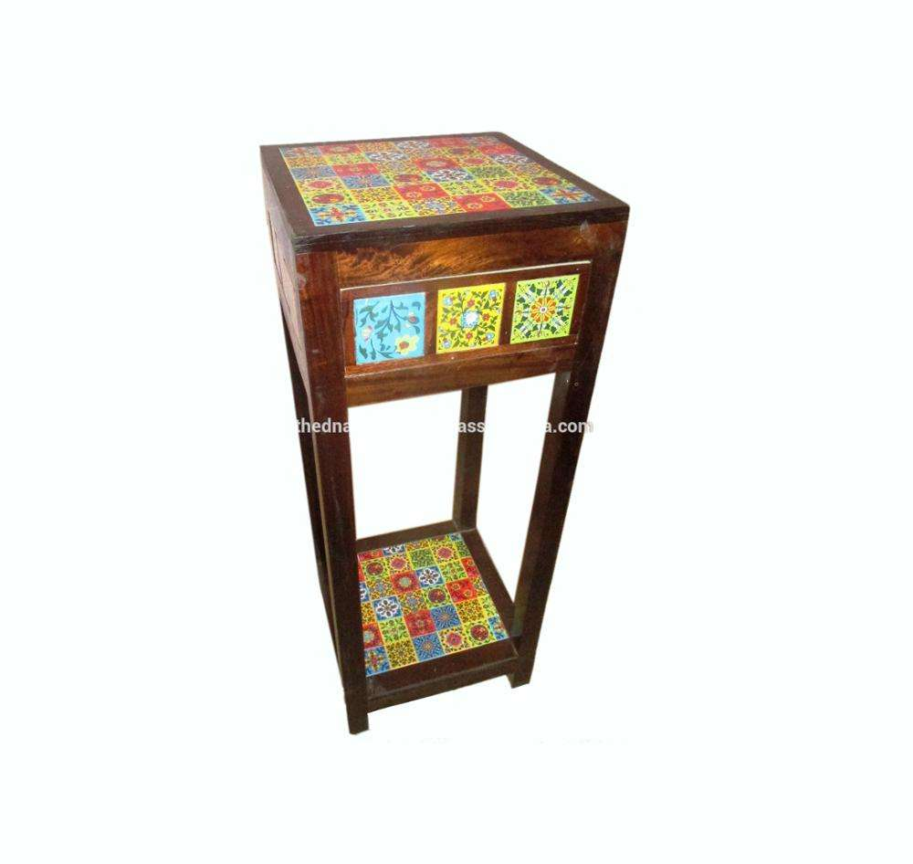 Indian Painted 3 Drawers Wooden Side Stool