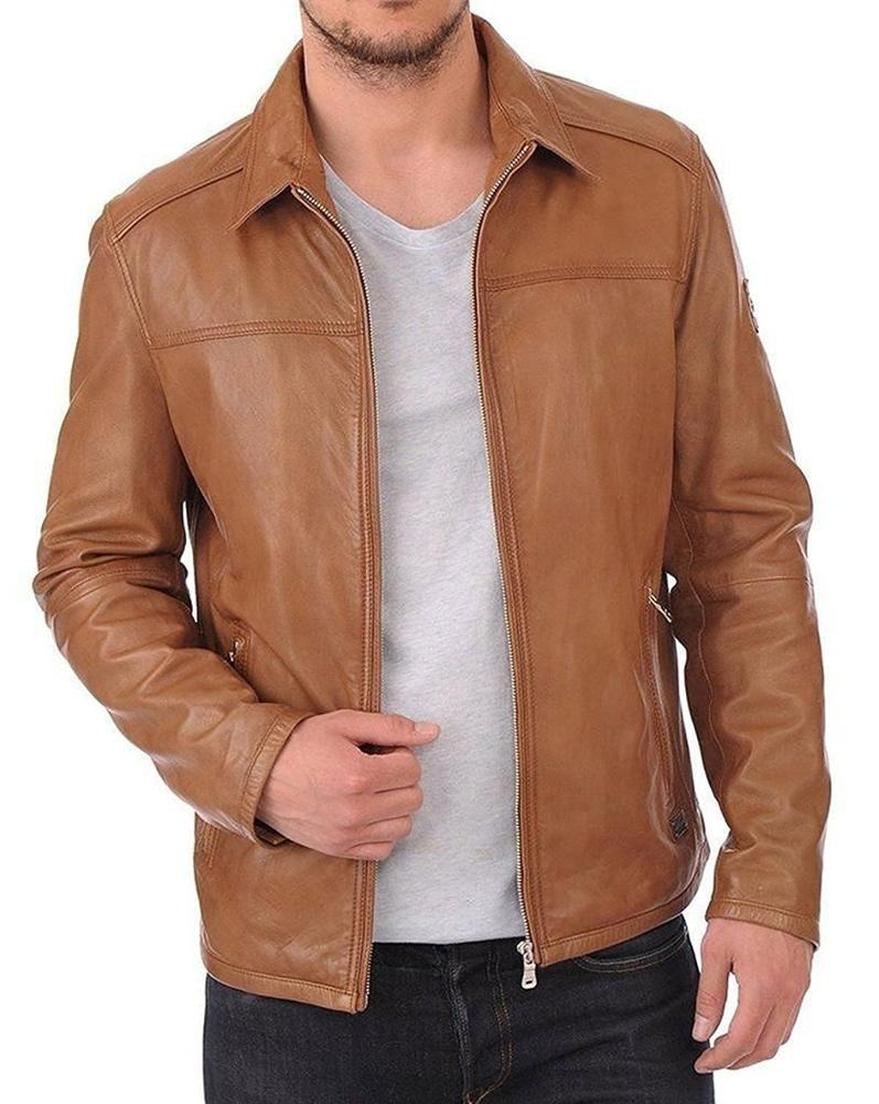 Plain leather fashion jackets