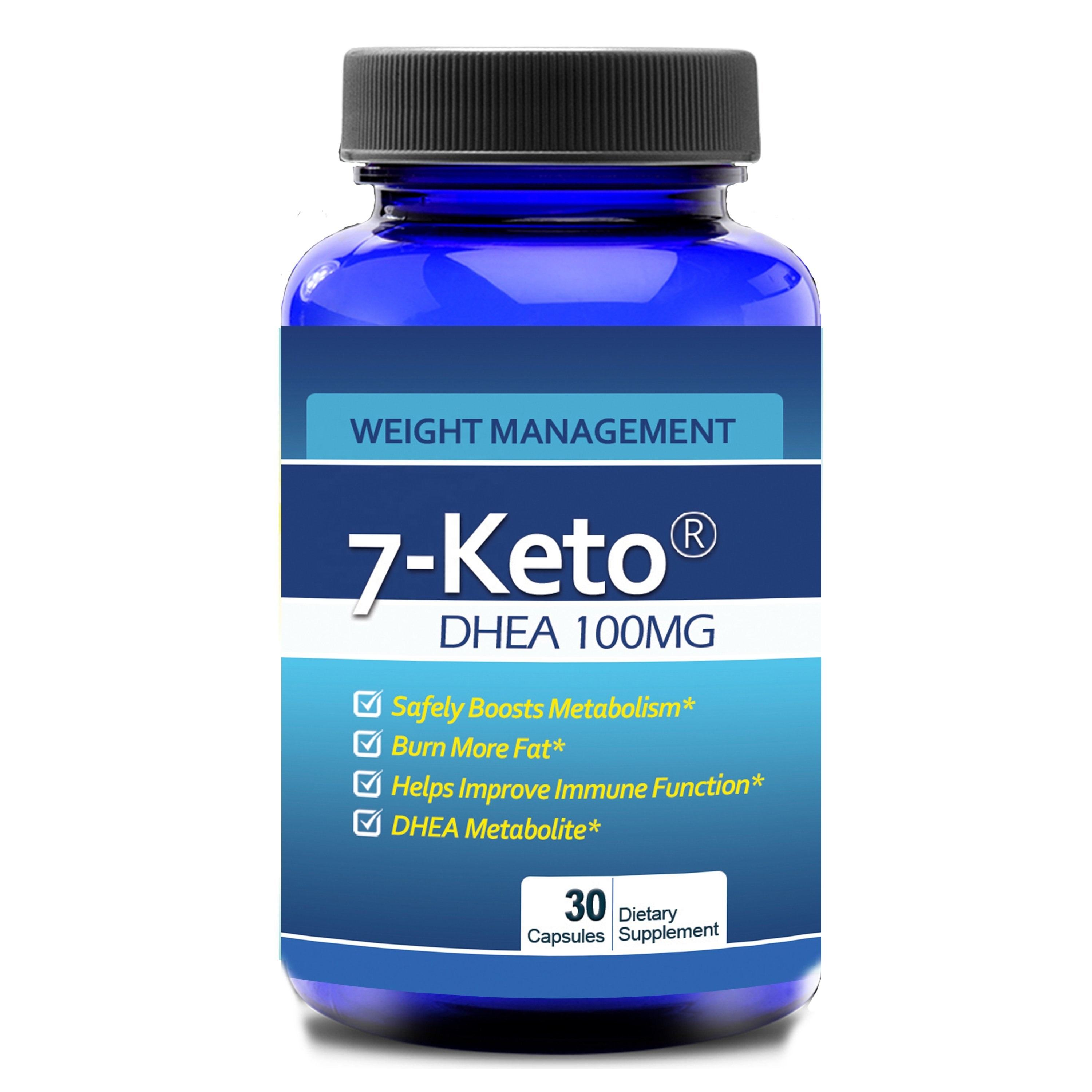 Highly Recognized 7 Keto DHEA Full Potency 100mg 30 Capsules Weight Loss and Burn More Fat