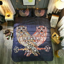 Indian Handmade Owls Home Decor Duvet Cover Sets--No Comforter,Indian Ethnic Owls Tribal Features Magic Pattern,23 PCS 3D Boho B