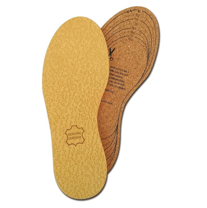 Children leather and cork insoles 100% natural insoles for kids