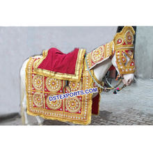 Wedding Ghodi Decoration, Red And Golden Wedding Horse Costume, Embrodried Wedding Latest Design Howdah