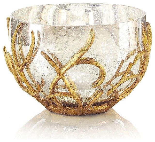 Decorative bowl with gold plated leaf design