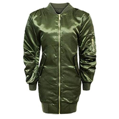 New Womens Ladies Ma1 Satin Army Flight Vintage Military Bomber Long Jacket Khaki