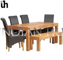 Wooden Mango 6 FT Dining Set with Bench & 4 Leather Chairs