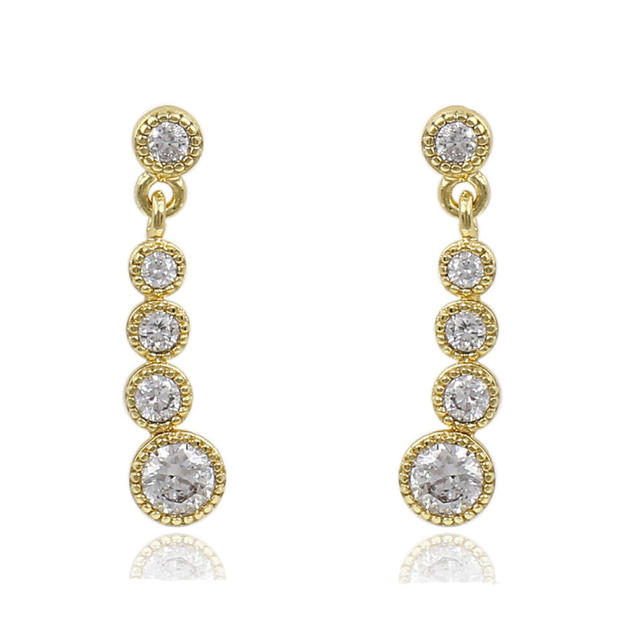 91322 anting xuping ditekan, 14 k warna emas wanita anting batu perhiasan anting
