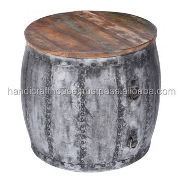 Industrial Vintage Distressed Metal and Reclaimed Wood Round Coffee Table