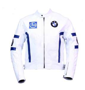 Mens White BMW Motorcycle Racing Biker Leather Jacket