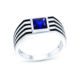 High Quality 1.32 ct Princess Cut Created Sapphire Rhodium Plated 925 Sterling Silver Ring Jewelry for Men