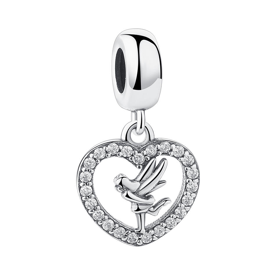 Pretty Elf Love Pendant Charm for European Original Snake Bracelet Making 925 Silver Heart Charm with Cubic Zircon