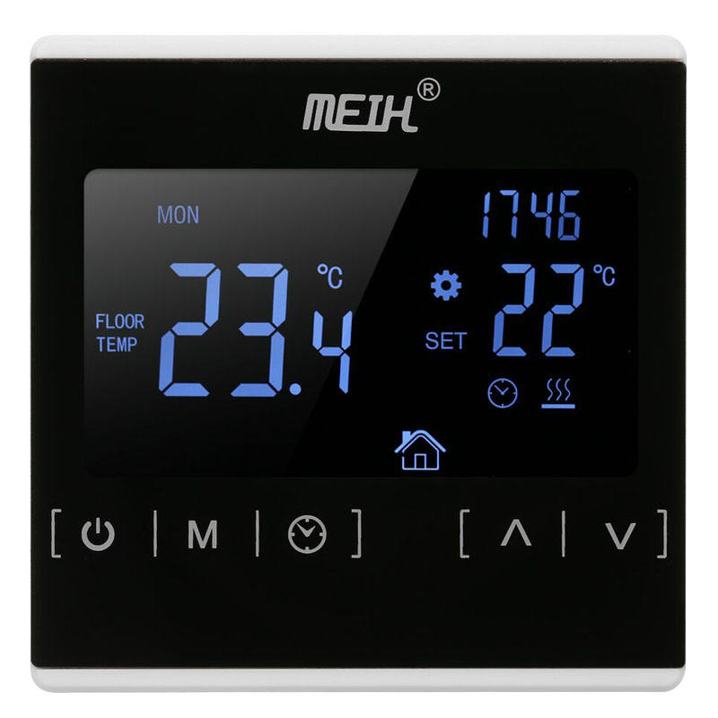 32/5000 Thermostat Programmable Thermostat หน้าจอ LCD backlit อุณหภูมิไร้สาย Controller สีดำ