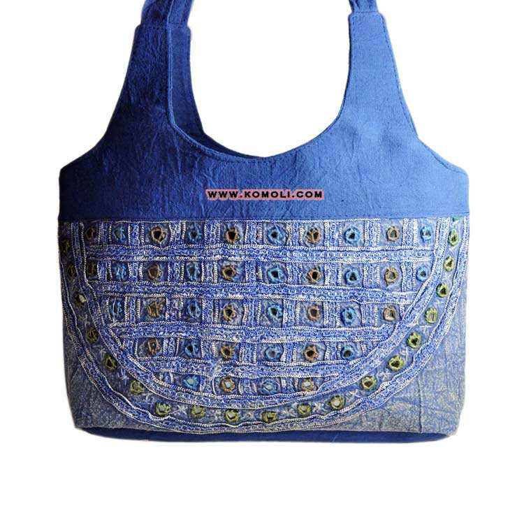 Azure mirror & patch work large zippered denim banjara tote bag hand embroidered cotton shoulder bags