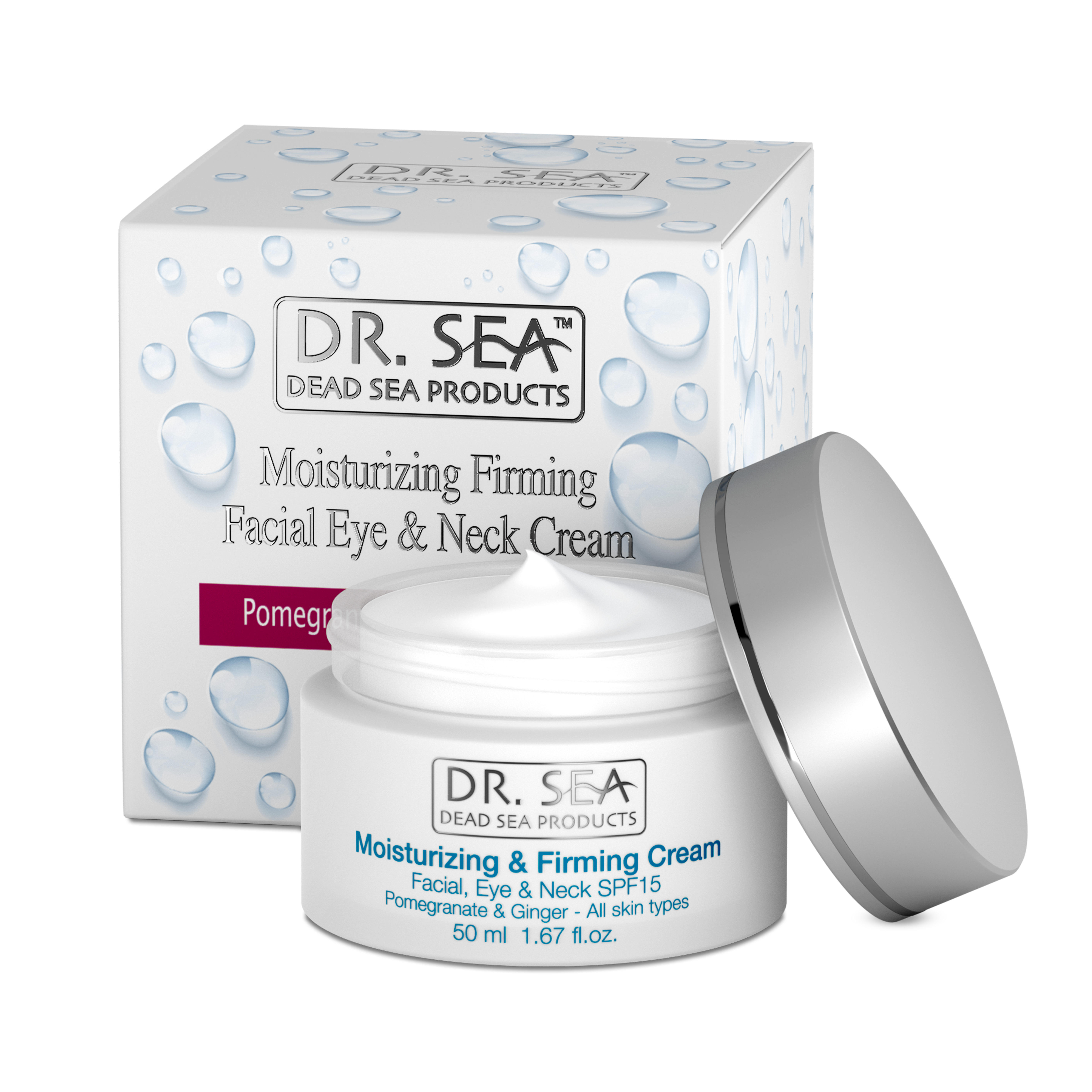Moisturizing and Firming Facial, Eye and Neck Skin Cream with Pomegranate and Ginger Extracts SPF 15