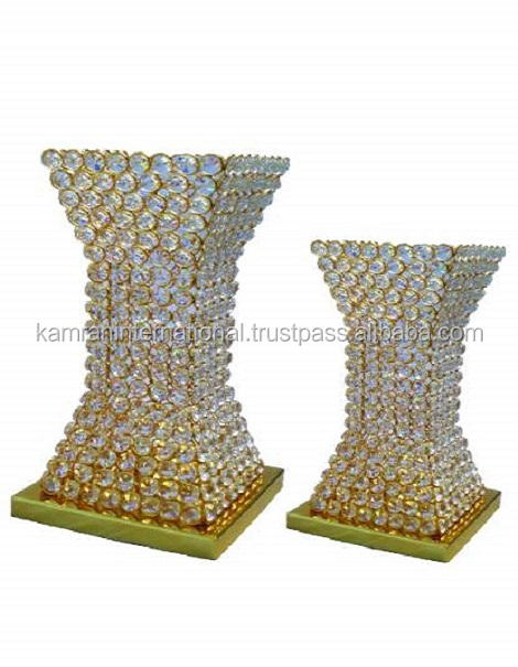 Hand made Tall Gold Crystal beads decorative flower vases for Home & Wedding decorations