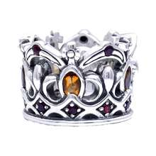 925 Sterling Silver Funky Crown Ring, Biker Style Ring