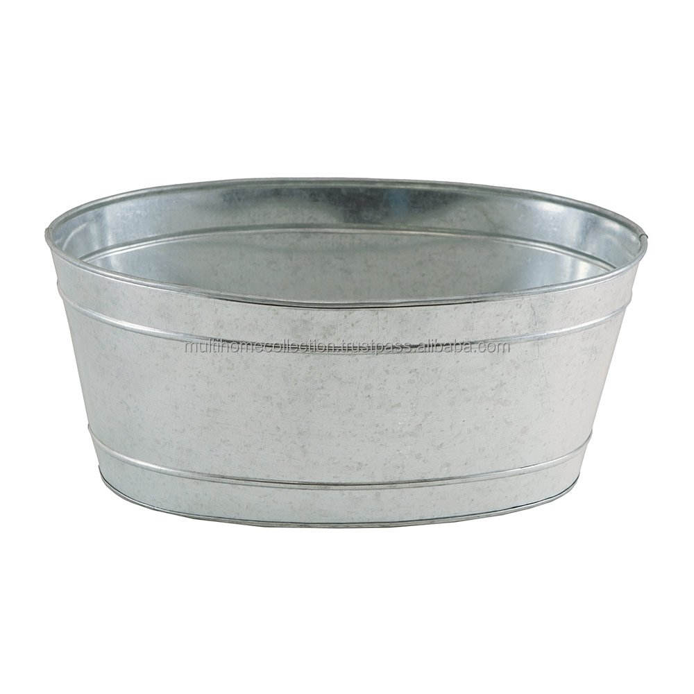 Galvanized Metal Oval Planter
