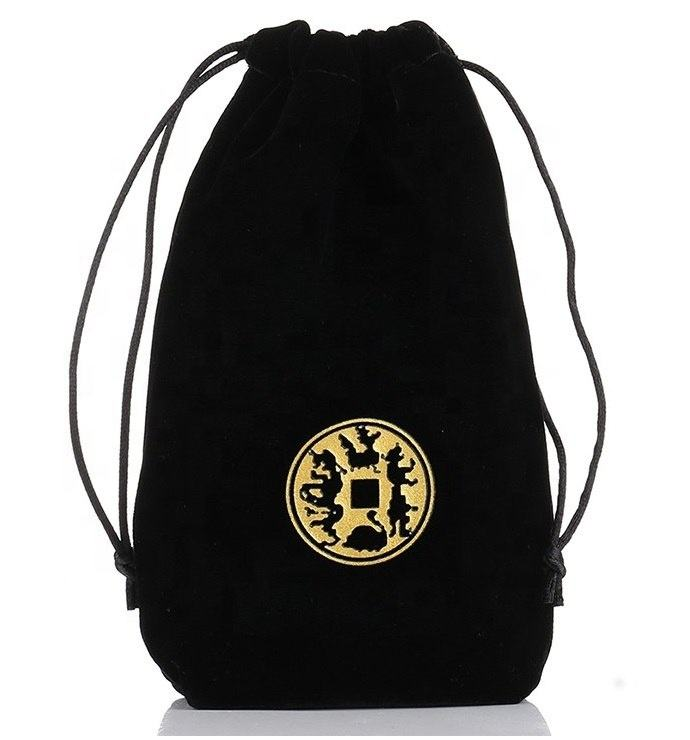 Good quality velour Black perfume bottle velvet pouch bags with gold hot stamp logo