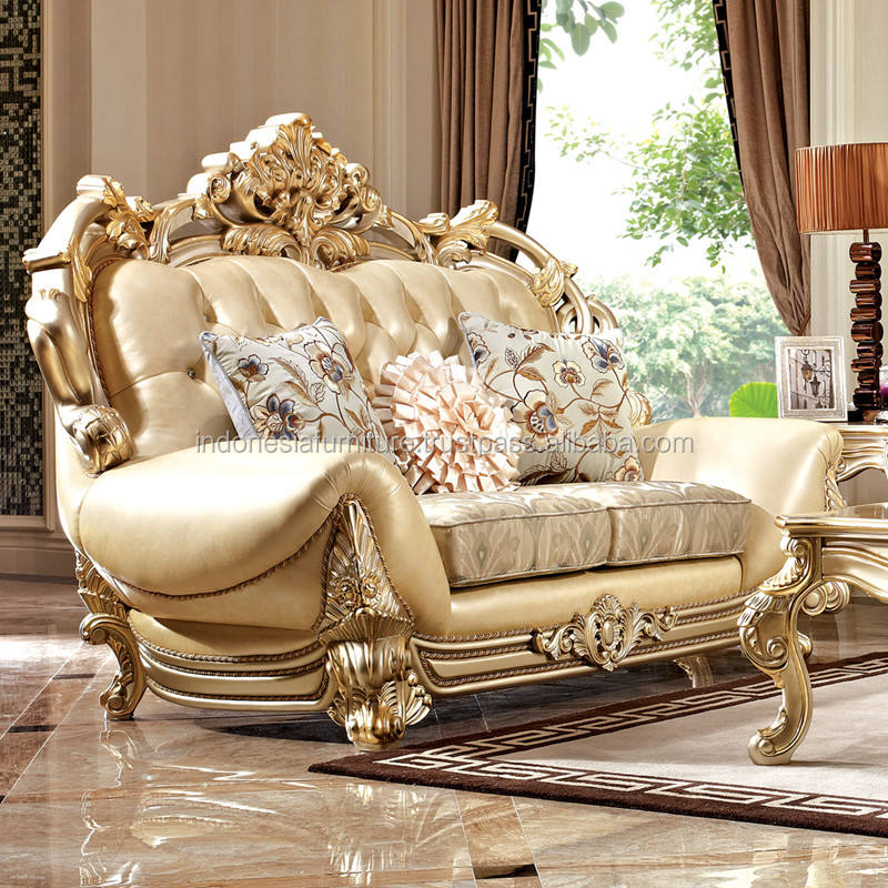 Italian sofa luxury sofa combination living room furniture carved European solid wood sofa
