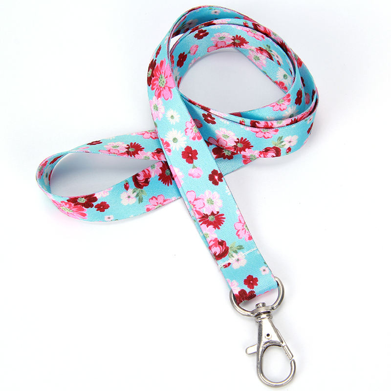 High quality custom logo heat transfer printing colorful flower lanyard