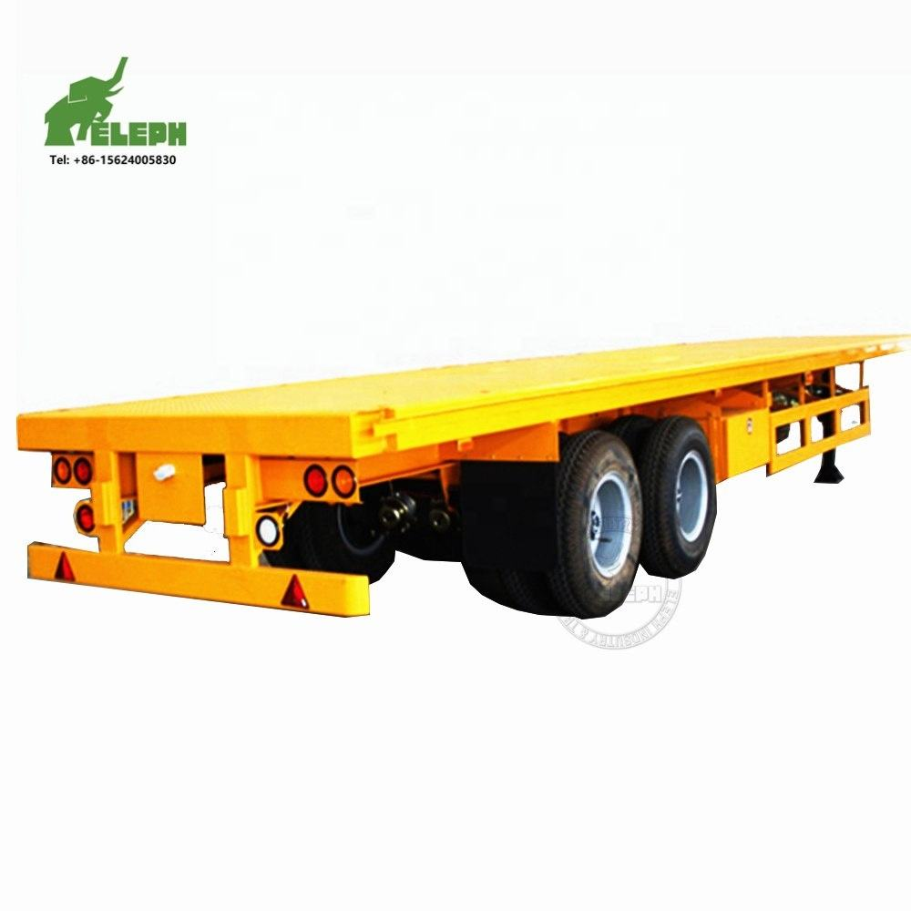 2 Axles 40Tons Truck Fifthwheel Towing Flatbed Semi 20ft Container Trailer